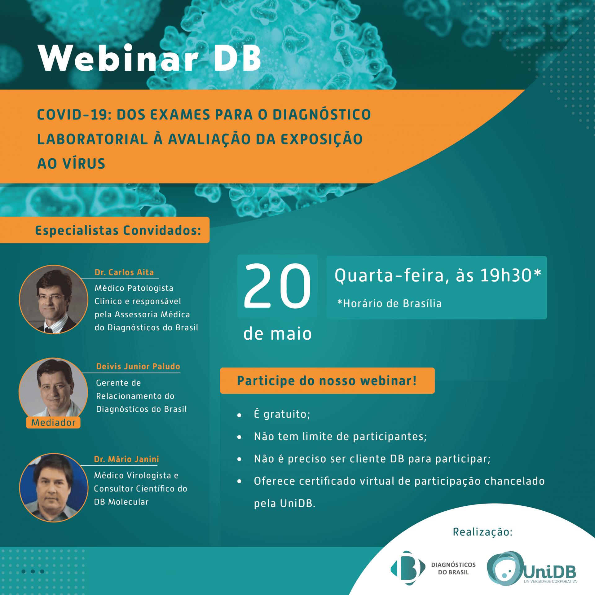WEBINAR DB | COVID-19: dos Exames para o Diagnóstico Laboratorial a Avaliação da Exposição ao Vírus | Diagnósticos do Brasil